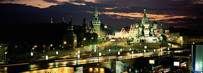 City Lit Up At Night, Red Square Art Print by Panoramic Images