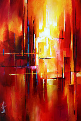 Abstract Expressionist Painting - 'city Of Fire' by Michael Lang