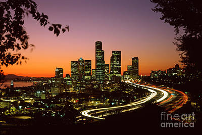 City Of Seattle Skyline Print by King Wu