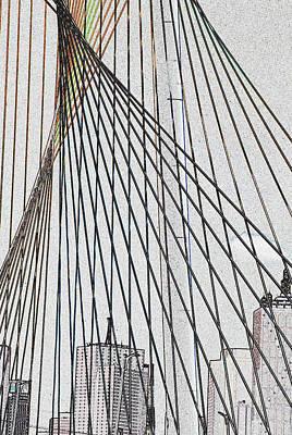 City Through The Bridge Art Print