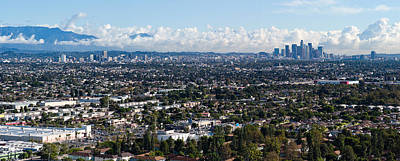 San Gabriel Photograph - City With Mountain Range by Panoramic Images