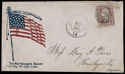 Star Spangled Banner Drawing - Civil War Letter, C1863 by Granger