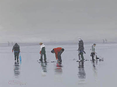 Razor Clams Wall Art - Painting - Clam Diggers Dance by Carol Thompson