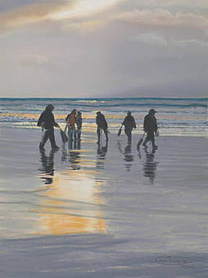 Razor Clams Wall Art - Painting - Clamdiggers At Sunset by Carol Thompson