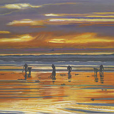 Razor Clams Wall Art - Painting - Clamming And Fishing At Sunset by Carol Thompson