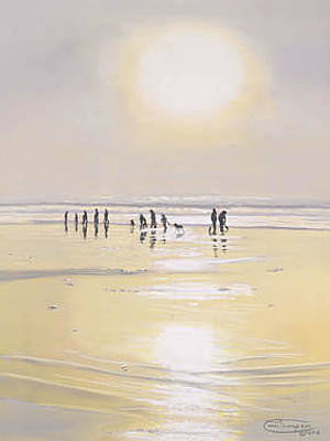 Razor Clams Wall Art - Painting - Clamming Under The Sun by Carol Thompson