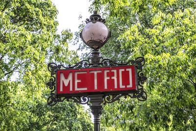 Metro Art Photograph - Classic Paris Metro Sign by Georgia Fowler
