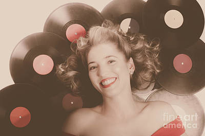 Photograph - Classic Pin Up Girl On Vintage Vinyl Lp Records by Jorgo Photography - Wall Art Gallery