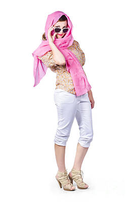 Hiding Photograph - Classy Vintage Woman With Pink Scarf by Jorgo Photography - Wall Art Gallery