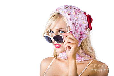 Classy Young Woman In Headscarf And Sunglasses Art Print by Jorgo Photography - Wall Art Gallery