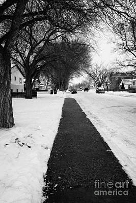 cleared footpath on residential street pleasant hill Saskatoon Saskatchewan Canada Art Print