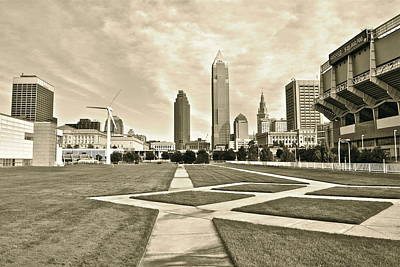 Unique Look Photograph - Cleveland In Sepia by Frozen in Time Fine Art Photography