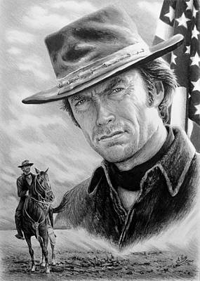 Flag Of Usa Drawing - Clint Eastwood American Legend by Andrew Read