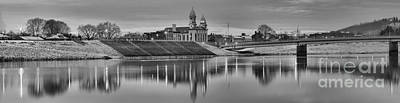 Photograph - Clinton County Courthouse Black And White Panorama by Adam Jewell