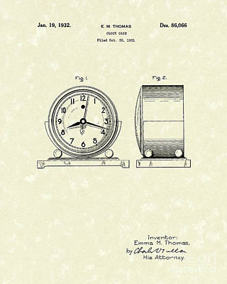 Clocks Drawing - Clock Case 1932 Patent Art by Prior Art Design