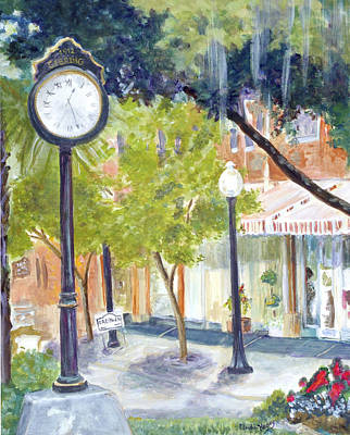 Park Scene Painting - Clock In The Park by Linda Kegley