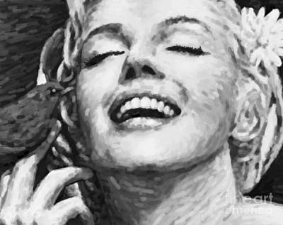 1950s Movies Painting - Close Up Beautifully Happy In Black And White by Atiketta Sangasaeng