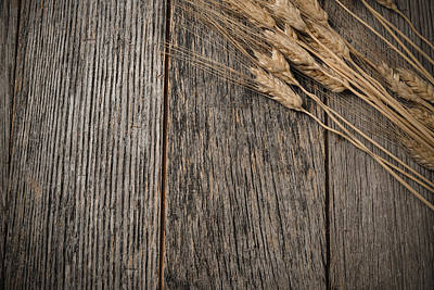 Background Photograph - Close Up Of Wheat On Rustic Wooden Table by Brandon Bourdages