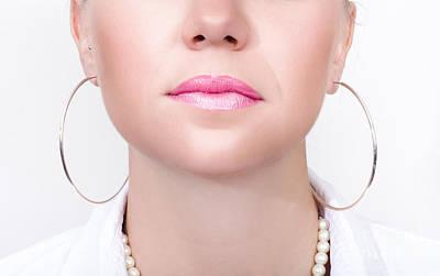 Gold Earrings Photograph - Closeup Beauty Photo Of Shiny Pink Lipstick by Jorgo Photography - Wall Art Gallery