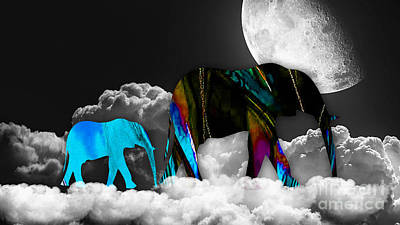 Elephants Mixed Media - Clouds by Marvin Blaine