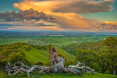 Clouds Over Central Valley At Sunset Art Print