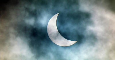 Solar Eclipse Photograph - Cloudy Solar Eclipse by Martin Dohrn