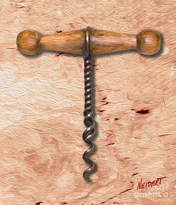 Merlot Mixed Media - Clough Corkscrew Painting 5  by Jon Neidert