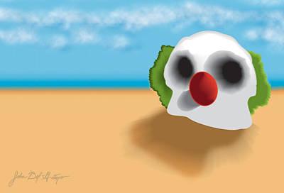 Klown Digital Art - Clown Skull In The Desert by Del Gaizo