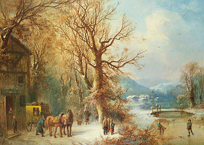 Skating Painting - Coach And Horses In A Snowy Landscape by Guido Hampe