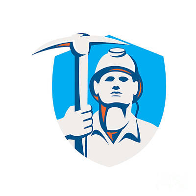 Pick Axe Digital Art - Coal Miner Pick Axe Shield Retro by Aloysius Patrimonio