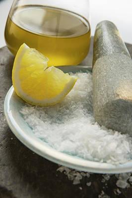 Coarse Salt With Pestle, Lemon And Olive Oil Art Print
