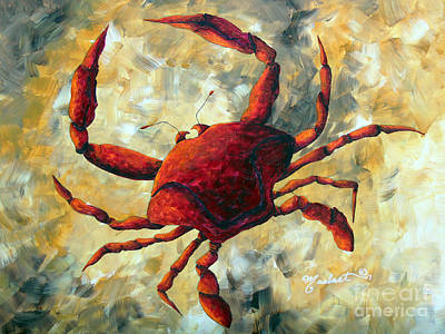 Coastal Crab Decorative Painting Original Art Coastal Luxe Crab By Madart Original by Megan Duncanson