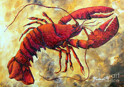 Coastal Lobster Decorative Painting Original Art Coastal Luxe Lobster By Madart Original by Megan Duncanson