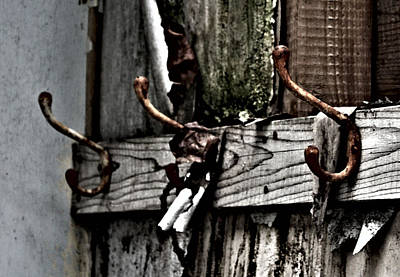 Abandoned Photograph - Coat Hooks by Larysa  Luciw