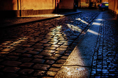 Prague Photograph - Cobbled Street At Night by Wladimir Bulgar