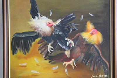 Cockfight  Print by Gani Banacia