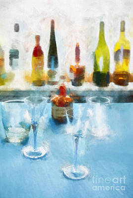 Yellow Bottles Digital Art - Cocktails by HD Connelly