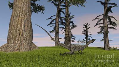 Coelophysis Digital Art - Coelophysis Running Through A Grassy by Kostyantyn Ivanyshen