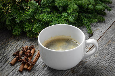 Background Photograph - Coffee And Cinnamon And Anise Star For The Holidays With Christm by Brandon Bourdages