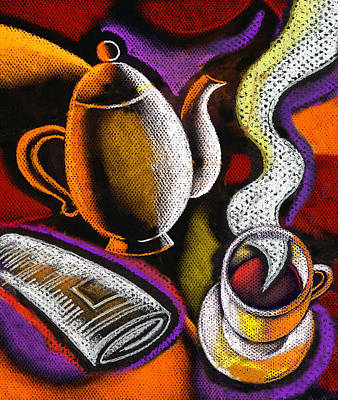 Painting - Coffee And News by Leon Zernitsky