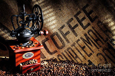 Coffee Beans And Grinder Art Print