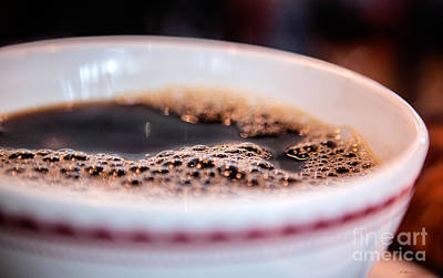 With Red Photograph - Coffee Bubbles by Iris Richardson