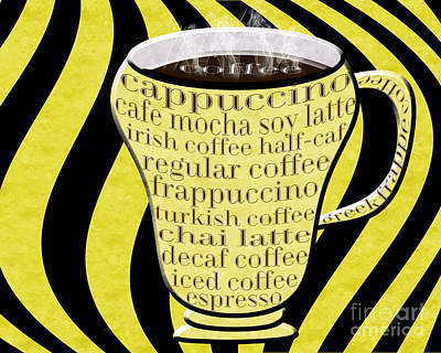 Coffee Cup With Stripes Typography Yellow Art Print by Andee Design