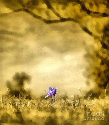 Odon Painting - Colchicum Autumnale  by Odon Czintos