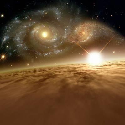 Colliding Galaxies Print by Detlev Van Ravenswaay