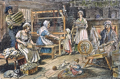 Spinning Drawing - Colonial Cloth Makers by Granger