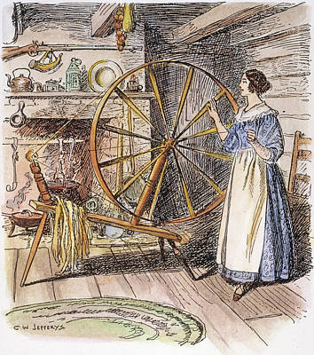 Colonial Spinner, 18th C Art Print
