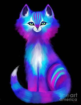 Kitten Digital Art - Colorful Cat by Nick Gustafson