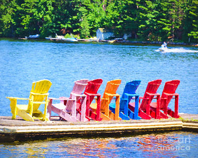 Photograph - Colorful Chairs by Les Palenik