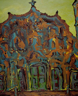 Barcelona Painting - Colorful Church by Oscar Penalber